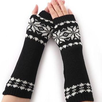 Casual Knit Arm Warmer Fingerless Snowflake Long Gloves
