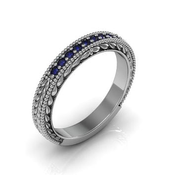 Art Deco Antique Style 14k White Gold Blue Sapphire Milgrain  Wedding Engagement and Anniversary Ring Band