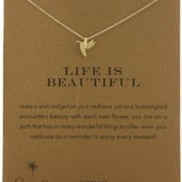 Dogeared Gold Plated Sterling Silver Life Is Beautiful Reminder Necklace, 18""