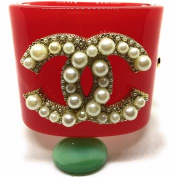 KC Luxurys CHANEL Inspired Red And Gold Cuff Bracelet With Pearls