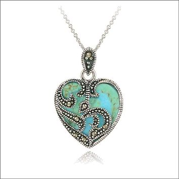 925 Sterling Silver, Marcasite & Turquoise, Heart Necklace