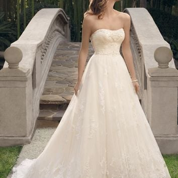 Casablanca Bridal 2170 Strapless Lace Ball Gown Wedding Dress