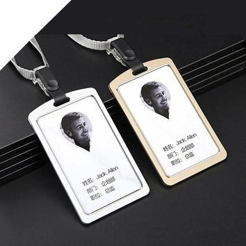 Free Shipping Metal Bank Credit Card Bus Card Case Holder Aluminum Alloy ID Business Badge Holder With Detachable Neck Lanyard