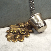 Peter Pan Kiss Thimble and Acorn Necklace, Brass and Silver Tone