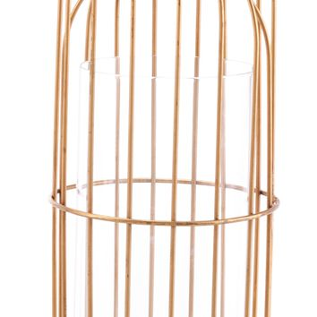 A10562 Birdcage Candle Holder Lg Gold