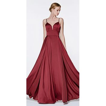 Floor Length A-Line Satin Gown Burgundy Double Slit Sweetheart Neck