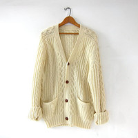 vintage cream sweater. wool cardigan sweater. cable knit cardigan. boyfriend sweater. grandpa sweater with pockets