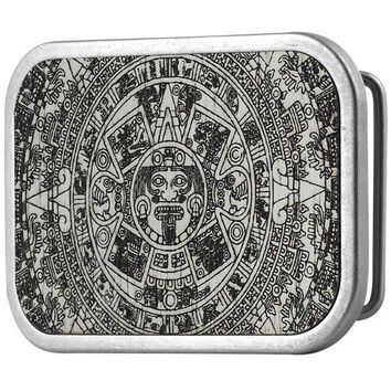 CREYON Aztec Calendar White Guilded Wood Belt Buckle