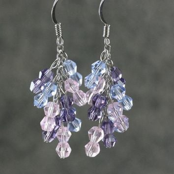 Purple pink blue pastel danging chandelier earrings Bridesmaids gifts Free US Shipping handmade Anni Designs