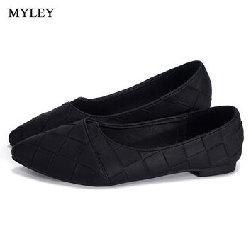 MYLEY Rhinestone Pointed Toe Flat Heel Shoes Woman Single Fashion Flat Shoes Spring Autumn Loafers Casual Shoe Zapatos Mujer