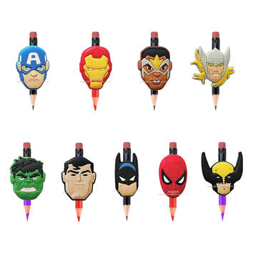 Novelty school supplies 9pcs hot movie The avenger super hero pencil topper caps kids party favor School Bag Supplies Stationery