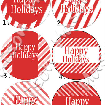 "Candy Cane Happy Holidays or Christmas Labels for Gift Tags / Mason Jars - 2"" & 2.5"" round tags"