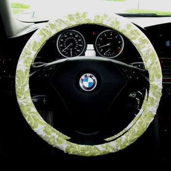 Green Sparkle Glitter Damask on White Steering Wheel Cover