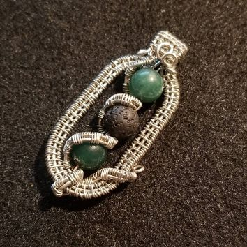 Wire Wrapped Lava Stone Aromatherapy Necklace