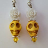 Yellow Skull Earrings - Skull Earrings - Punk Rock Earrings - Horror Jewelry - Day of the Dead Jewelry - Creepy Cute - Swarovski Jewelry