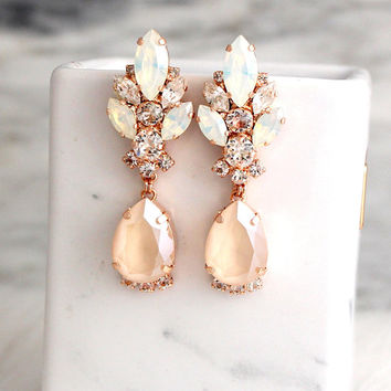 Bridal Earrings, Ivory Drop Earrings, Bridal Cream Beige Earrings, Ivory Gold Chandelier Earrings, Bridal Crystal Swarovski Gold Earrings