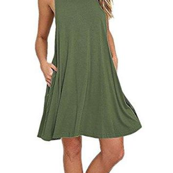 Zyyfly Womens Sleeveless Crew Neck Side Handy Pocket Cut Out Swing Plain Casual Dresses
