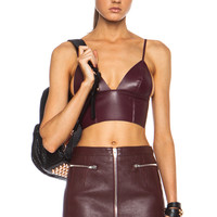 T by Alexander Wang | Bonded Nappa Raw Edge Triangle Bralette in Bordeaux www.FORWARDbyelysewalker.com