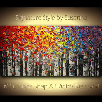 ORIGINAL Birch trees Palette Knife Painting Aspen Landscape Oil Painting Palette Knife Art Abstract Woodlands Texture Canvas artwork Susanna