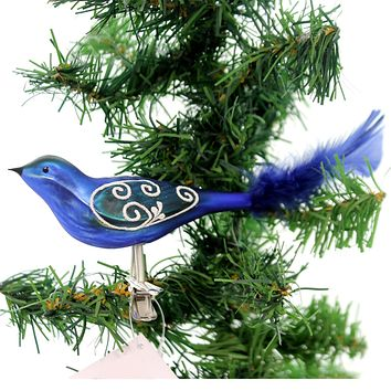 Golden Bell Collection Blue Bird W/ Feathers Clip On Glass Ornament