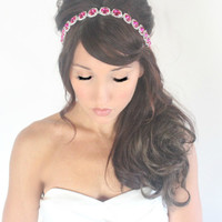 Pink Bride Rhinestone Bridal headpiece fuchsia  wedding by deLoop