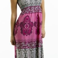 Tube Top Halter Maxi Dress / Coverup with Jewelry Trim in Silky 'ITY' Print Fabric in Sizes Small - 4x