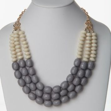 Grey Ivory Beaded Layer Statement Necklace