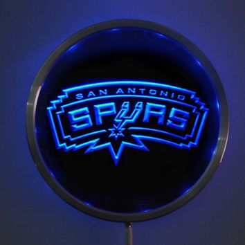 """San Antonio Spurs: LED Neon Round Signs; 10"""" Bar Sign with RGB Multi-Color Remote Wireless Control Function"""