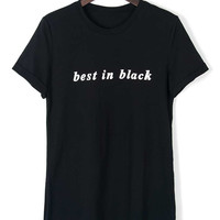 Best in Black Letter Print Short Sleeve T-shirt