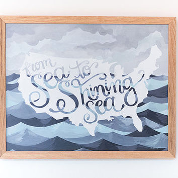 Sea to Shining Sea Framed Print on Wood