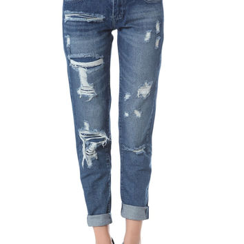 Q2 Maong Jeans With All Over Rips & Distressing