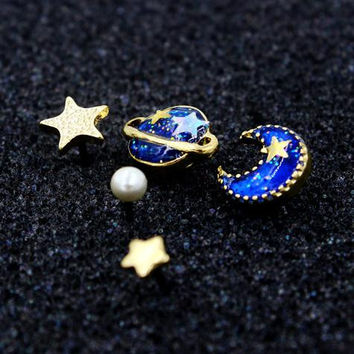 Cute Galaxy Blue Star Moon And Planet Rhinestone Earring