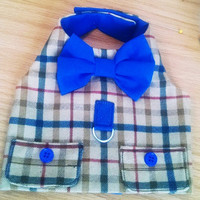 Dog Harness Vest: Boy Dog Hipster plaid vest  blue and brown plaid. Chihuahua Yorkie  Pomeranian ShihTzu