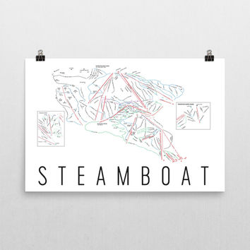 Steamboat Springs Ski Trail Map Poster