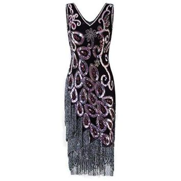 1920s Style Peacock Sequin Roaring 20s Gatsby Party Flapper Dress