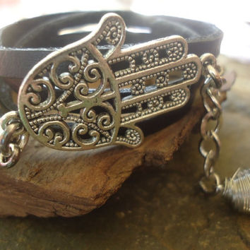 FATIMA HAND LEATHER & rock crystal  wrap bracelet