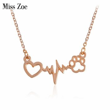 Miss Zoe I Love Paw ECG Necklace Rose Gold Silver Dog Paw Claw Heart Pendant Necklace Cat Kitten Puppy Pet Animal Jewelry Gift