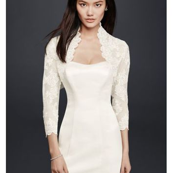 Beaded Lace 3/4 Sleeve Jacket - Davids Bridal