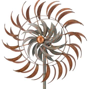 Copper Patina Leaf Petals Metal Kinetic Garden Stake Wind Spinner