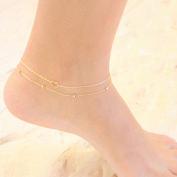 market layered ball il solid ankle bracelet etsy anklet beach gold