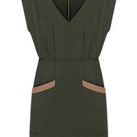 Dark Olive Green V- Neckline Sleeveless Pockets Detailed Bodycon Dress
