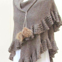 Women Accessory  Scarf Rustic Crocheted Wrap  Shawl