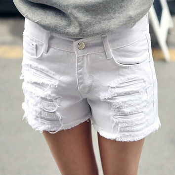 Plus Size 6XL White Denim Shorts Women 2016 Summer Fashion Black Ripped Jeans Shorts Hole Tassel Femme Shorts 26-40 Top Quality