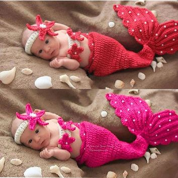 Newborn Baby Photography Props Mermaid Tail Crochet Picture
