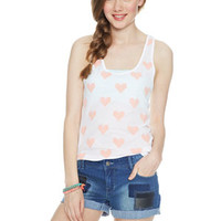 Allover Hearts Tank - White