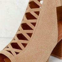 Criss Cross Cutout Bootie Taupe