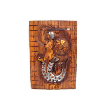 Handmade Warrior Mermaid Wall Art Carving