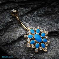 Golden Roesia Ornate Multi-Gem Belly Button Ring