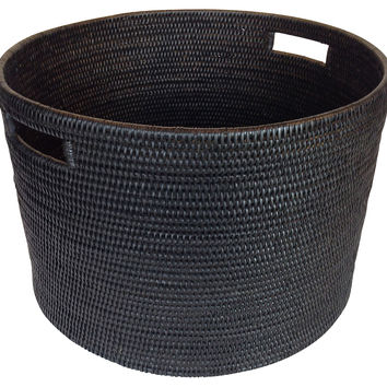 Round Storage Basket, Black, Storage Baskets