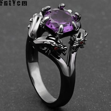 Special Counter Rings For Woman Supernatural Loong Red Blue Purple Size 6-10 AAA Austrian Natural Stone Cabochons Hand Jewelry